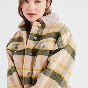 Urban outfitters plaid trucker jacket